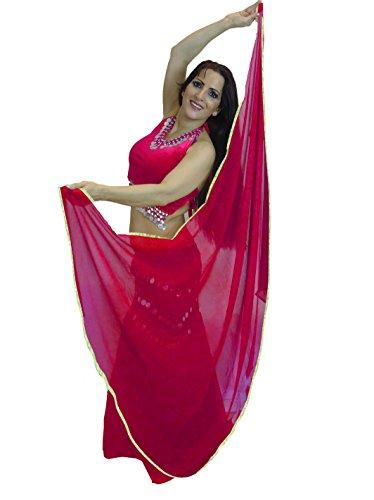 Dancers World Ltd (UK Seller) Tänzer Welt SILBER Getrimmte SEMI CIRCLE Schleier Bauchtanz Kostüm Schleier Wrap Schal Redy Pink