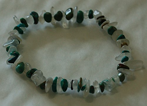 Turquesa y piedra lunar Chip Bead pulsera de cristal de curación