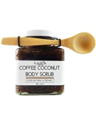 Laila London Organic Arabica Coffee & Coconut Body Scrub 100% Natural With Bamboo Spoon 350g Stretch Marks & Cellulite, Exfoliating Body Scrub - Soften Skin - Smooth Skin Before Tanning - Improve Circulation, Stimulate Collagen and Fight Aging - Reduce Ingrown Hairs, Bumps, and Clogged Pores - Helps Even Skin Tone and Prevent Dullnes