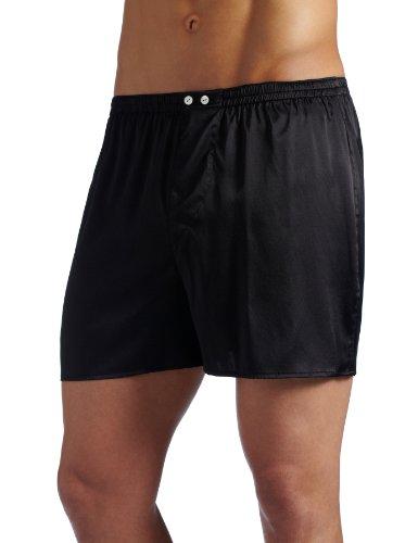 INTIMO Herren Boxershorts Classic Stretch Seide, Schwarz, Größe M - Schwarze Seide Boxer Shorts