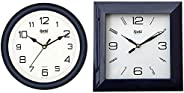Ajanta Quartz Office Clock (AQ-2147) & Plastic Wall Clock (175 mm x 175 mm x 35 mm 1847 - Black) C