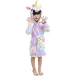 Mystery&Melody Niños Unicornio Bata de baño Franela Encapuchado Pijama Cosplay Disfraces Animales Vestirse Unisexo (140:130-140cm, Estrella)