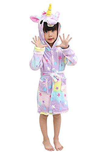 Mystery&Melody Kinder Einhorn Bademantel Flanell Mit Kapuze Süss Schlafanzug Cosplay Kostüme Tiere Ankleiden Unisex (130:120-130cm, ()