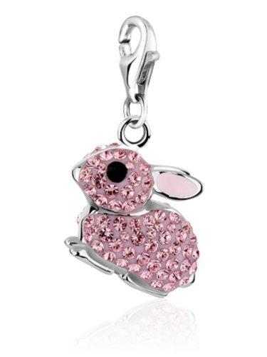 In argento sterling, a forma di coniglio rosa per bracciali, con cristalli swarovski elements