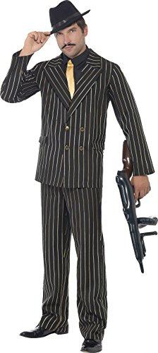 20er Ideen Kostüme (Smiffys, Herren Gangster Boss Kostüm, Jackett, Hose, Mock Hemd und Krawatte, Größe: XL.)