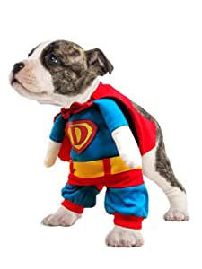 "Dog Fancy Dress Costume. SUPERDOG !! This super hero outfit is complete with a cape, front leg sleeves and 'false' arms. Small. Size 12"" / 30 cm"