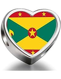 Bracelet Charm Bead Grenada flag Heart Sterling Silver Charm Beads Biagi beads European Charms Bracelets