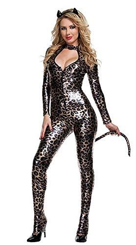 WWANGYU Hündin Sexy Catsuit Leder Leopard Print Appeal Uniform Cover All Spielanzug Kostüm (Alle Leder Kostüm)