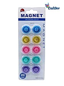 CraftDev Colorful Transparent Magnet for Fridge, Magnetic White-Boards - Stick Notes, Photos, Charts and More (Size 20MM) (Set of 10)