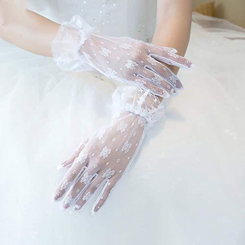 Fett Mashroom koreanische Braut Hochzeit Handschuhe Kurze Handgelenk Länge weiße Spitze Schiere Vollfinger Handschuh Kostüm Party Zubehör handgefertigt