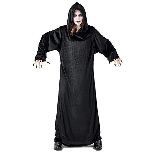 Teufel Kostüm Damen Halloween Party Cosplay Rock Gothic Witch Unisex Kleid Vintage Hexenkleid Polyester Schwarz (Einfach Schwarzer Teufel Kostüm)