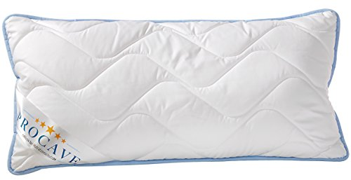 PROCAVE TopCool Qualitäts-Stepp-Kissen 40x80 cm | atmungsaktives Kopfkissen | Soft-Komfort | kochfestes Kissen | Winter- und Sommer-Kissen | made in Germany (Wolle Stoff Waschbar)