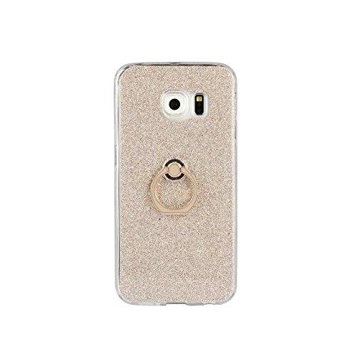 Luxus Bling Sparkle Style Case, Soft TPU [Silikon] Flexible Glitter Rückentasche mit Fingerring Stand [Anti Scratch] [Shockproof] für Samsung Galaxy S6 Edge Plus ( Color : White ) Gold