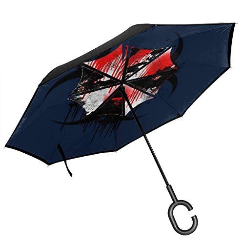 Resident Evil Umbrella Corp Salpicadura de Sangre Paraguas invertido de Doble Capa para el automóvil Reversa Plegable Al revés Manos en Forma de C - Ligero y a Prueba de Viento y ndash; Regalo Ideal