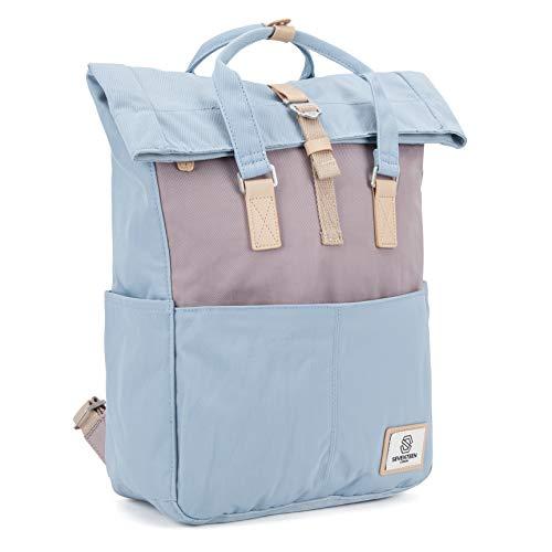 SEVENTEEN LONDON - Moderner und stilvoller 'Soho' Rucksack in hellblau & lila mit einem klassischen gefalteten Roll Top Design - perfekt für 13-Zoll-Laptops