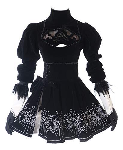 Kawaii-Story MN-27-2 Nier Automata Kleid 8-teilig Set Samt schwarz Gothic Fasching Kostüm Cosplay (XXL) (Kostüm Halloween Anime)