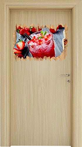 Erdbeercocktail neben Kandiszucker Holzdurchbruch im 3D-Look , Wand- oder Türaufkleber Format: 62x42cm, Wandsticker, Wandtattoo, Wanddekoration