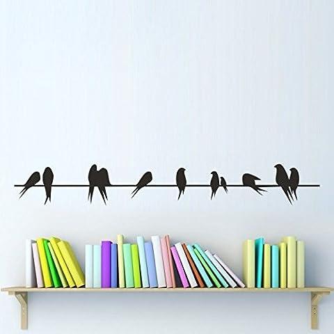 """mairgwall Home Decor moderne Sticker mural Oiseaux sur un fil en vinyle famille Salon Art Sticker, Vinyle, Personnalisé, 6""""h x46""""w"""