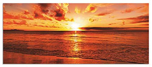 Artland Design Spritzschutz Küche I Alu Küchenrückwand Herd Landschaften Gewässer Meer Fotografie Orange H8FI Schöner tropischer Sonnenuntergang am Strand -