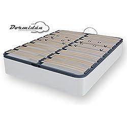 Dormidán - Canapé abatible gran capacidad esquinas redondeada en madera maciza, tapa somier multiláminas con regulación lumbar 105x190cm, color blanco