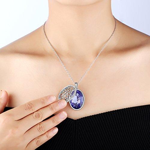 Jacqueline s Tear Large Rhinestone Pendant Necklace Made with Swarovski  Sapphire Crystal for Valenti 66ea2ab7e