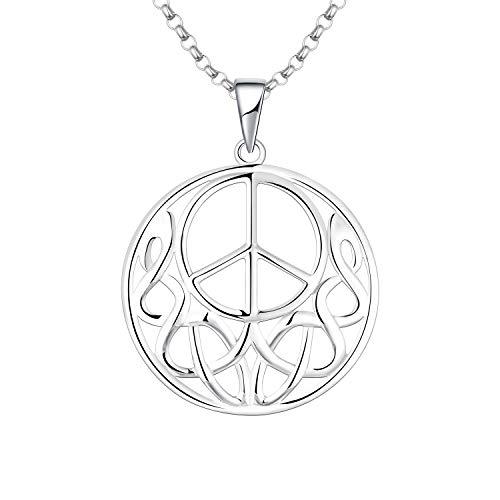 JO WISDOM Damen Halskette Friedenszeichen Peace-Zeichen Silber 925,Kette Anhänger Keltische Irische Unendlichkeits Knoten