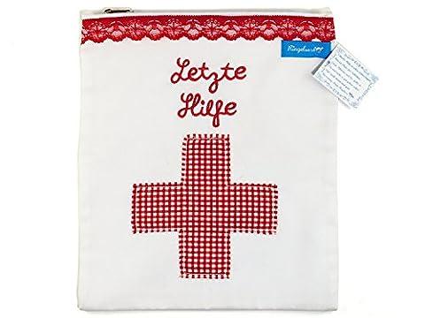 Trousse de médicaments / stockage pour remède 100% coton avec une croix décorative en vichy rouge et une broderie « Letzte Hilfe « - assistance – du label allemand Ringelsuse