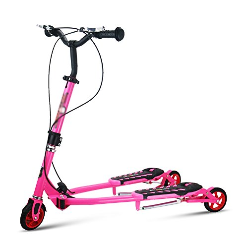 Kinder Scooter Scissor Car 4-12 Jahre alt Big Kind Frog Car DREI Runden Swing Car (Farbe : Pink)