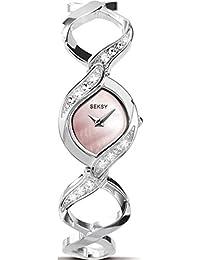 Seksy Stone Set Pink Mother of Pearl Dial Stainless Steel Bracelet Ladies Watch 4502