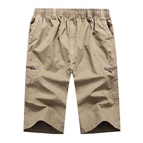 hahashop2 Sporthose Freizeit Kurz Herren Soft Comfort Schnelltrocknend mit Tasche Shorts Sommer Einfarbig Multi-Pocket-Tooling Strand Sieben Punkte Jogginghose für Herren - Denim-zwei-pocket-shorts