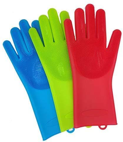 NMDD 2 Stück Silikon Haustier Hundebürste Handschuh Deshedding Sanfte effiziente Haustierhandschuh Hundebad Katze Reinigungsmittel Haustierhandschuh Hundekämme Arbeitshandschuhe (Farbe: Grün, Grö