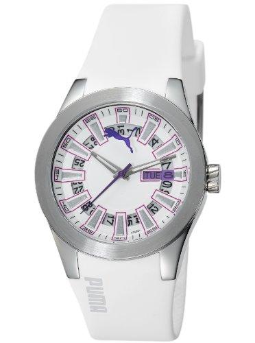 Puma Time Women's Quartz Watch Fan Ladies Silver White PU102402001 with Rubber Strap