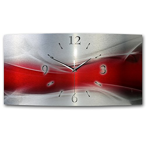 Kreative Feder Abstrakt Wave Rot Metallic Designer Funk Wanduhr XXL Funkuhr modernes Design * Made in Germany* WAG134FL * leise kein Ticken (50x25cm leises Funkuhrwerk)