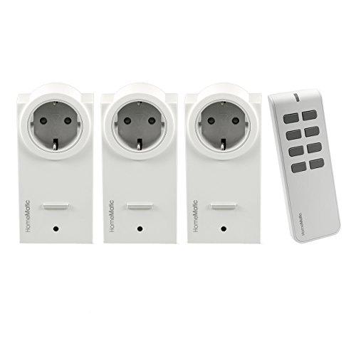 Preisvergleich Produktbild Komforthaus Set HomeMatic 3x Funk-Zwischenstecker-Schaltaktor mit 1x 8-Tasten Fernbedienung