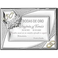 Curia Grabador Placa 50 Aniversario Bodas de Oro. Personalizado. Placa Homenaje 50 Aniversario. Placa Conmemorativa. 10x15cm