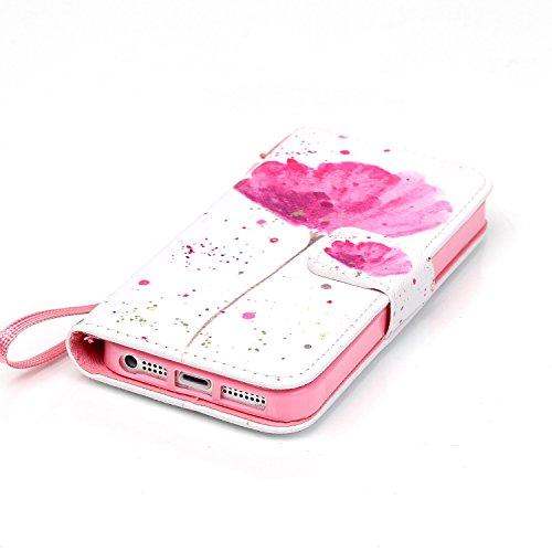 iPhone 5C Hülle Leder,iPhone 5C Hülle Silikon,iPhone 5C Hülle Flip Case,iPhone 5C Cover,EMAXELERS iPhone 5C Leder Handy Tasche Wallet Case Flip Cover Etui,PU Leder Flip Wallet Hülle für iPhone 5C,iPho Skull 3