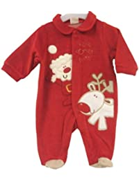 Adorable Red Christmas Design Velour Sleepsuit With Santa, Rudolph & Here Comes Santa! Applique - Size Newborn