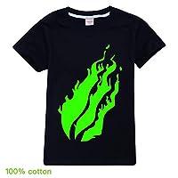 Preston Playz prestonplayz Gamer Flame T-shirt Tee top for Kids children (black,120cm)