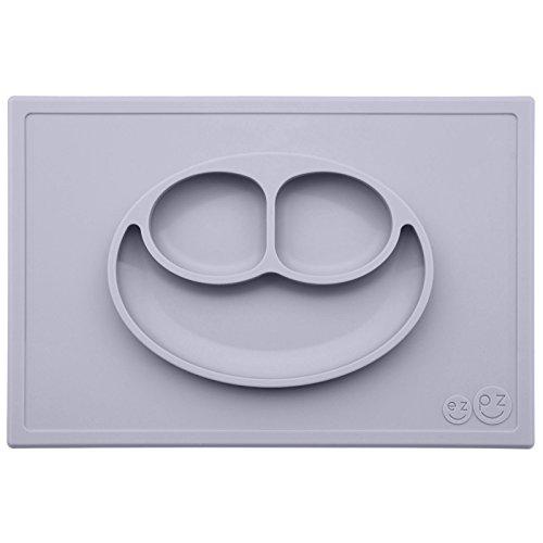 Stoviglie per bambini in silicone The Happy Mat Grigio Chiaro (Pewter)