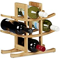 Relaxdays Porte-bouteilles de vin 9 bouteilles HxlxP: 30 x 30 x 14,5 cm étagère à bouteille casier à bouteille, nature