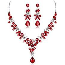 19f4a9f5d2a5 Aleación de Diamantes de Imitación Collar de Perlas Pendientes Colgantes  Conjunto Regalo de Joyería ...