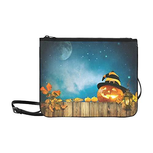 WYYWCY Halloween-Kürbis mit brennenden Kerzen Muster benutzerdefinierte hochwertige Nylon dünne Clutch Crossbody Tasche Umhängetasche