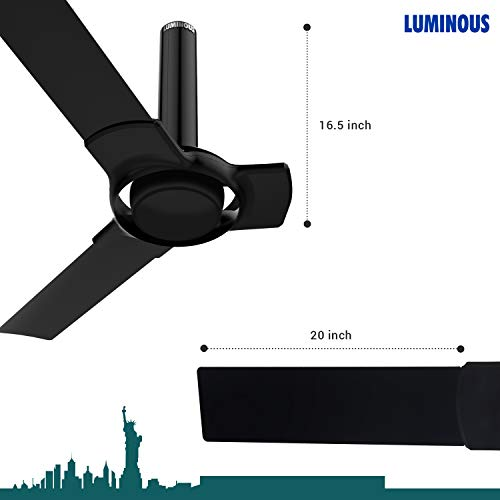 Luminous New York Tiffany 3 Blade Ceiling Fan with Remote Control and BLDC Motor, 1200mm - Midnight Black