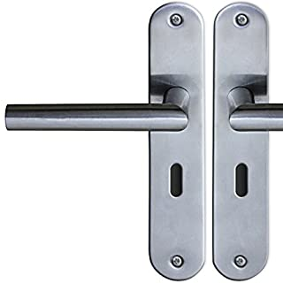 Jago 1 Pair of Long Plate BB Door Handles (Stainless Steel) with 8 mm Square Spindle and Fixings