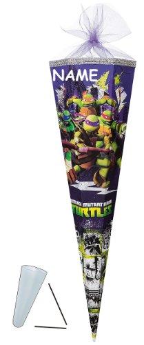 Unbekannt passende 3D Bänder - Schleife - für Schultüte - Teenage Mutant Ninja Turtles 22 / 35 / 50 / 70 / 85 cm - incl. Namen - mit / ohne Kunststoff Spitze - Zucker..
