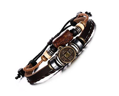 enes Wickelarmband Armband Vintage Stil mit chinesischem Münz Anhänger größenverstellbares Perlen Armband (Chinesische Armbänder)