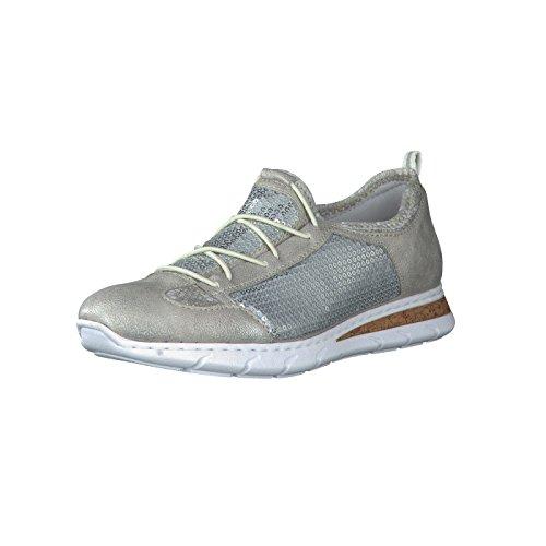 Rieker M5763 Damen Halbschuhe, Sneaker, Schnürer, Sportliche Schnürschuhe mit Pailetten Grau (frost/ice/silverflower/40), EU 36