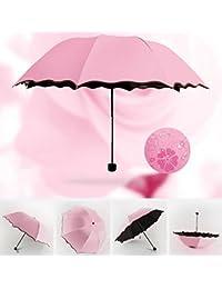 Flikool Anti-UV Magica Flor Paraguas Plegable Portatil Sol/Lluvia Viajar Umbrella - Pink
