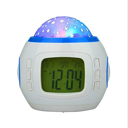 linfei Projektionswecker Sternenhimmel Projektionslampe Leuchtend Stumm Nachttischuhr Digitale Elektronische Uhr