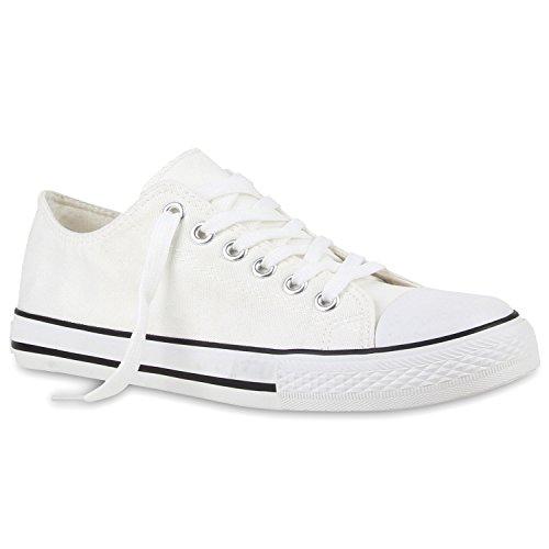 Sportliche Herren Sneakers Low Flache Turnschuhe Stoffschuh Ösen Weiß